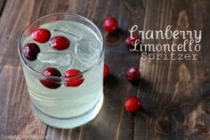 Cranberry Limoncello Spritzer recipe, an easy light tasting cocktail with cranberry juice and lemon liqueur. Perfect for Christmas or anytime of the year!