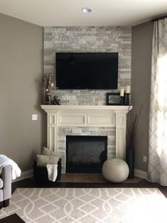 AirStone Fireplace Makeover (before and after) - AirStone . AirStone Fireplace Makeover (before and after) - AirStone . Airstone Fireplace, Stone Fireplace Makeover, Old Fireplace, Fireplace Remodel, Living Room With Fireplace, Fireplace Design, My Living Room, Living Room Decor, Fireplace Ideas