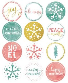 41 Sets of Free Printable Christmas Gift Tags: Watercolor and Glitter Christmas Labels from World Label Free Printable Christmas Gift Tags, Christmas Labels, Noel Christmas, Christmas Present Labels, December Daily, Printable Labels, Free Printables, Planner Stickers, Envelopes