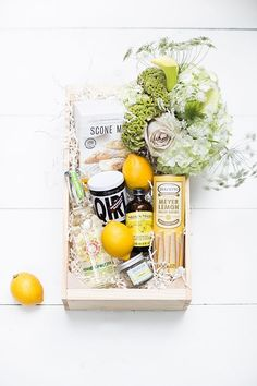 Happy November We're working on curating charming holiday gift boxes! This is a lemon one we made a few years ago 🍋🍋 Any good theme suggestions? Wooden Crates Gifts, Wooden Gift Boxes, Box Of Sunshine, Happy September, Diy Food Gifts, Christmas Entertaining, Diy Gift Box, Inexpensive Gift, Diy Birthday
