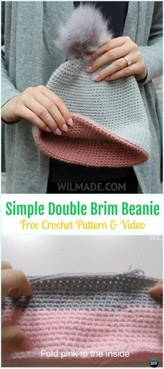 Crochet Simple Double Brim Beanie Hat Free Pattern&Video - #Crochet Beanie #Hat Free Patterns