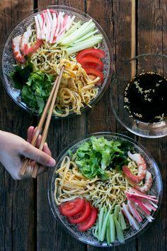 Japanese cold noodles for summer, Hiyashi-chuka