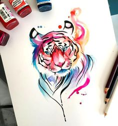 Colorful watercolor tiger tattoo design. Style: Watercolor. Color: Colorful. Tags: Beautiful, Awesome