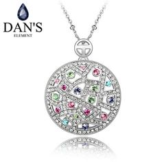 DAN'S ELEMENT New Sales Genuine Austria Crystal White Gold Color Flower Pendant Necklace For Women Valentine's Gift 85513 #Affiliate