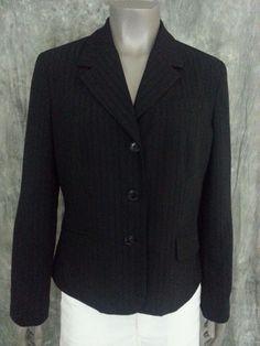 Worthington stretch blazer size 12 black striped career work #Worthington #Blazer