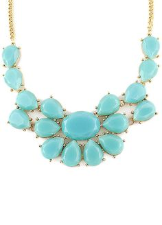 Blue Drop Gemstone Gold Chain Necklace US$7.67