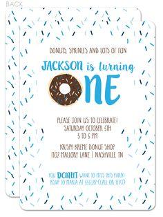 donut first birthday party blue   swanky press