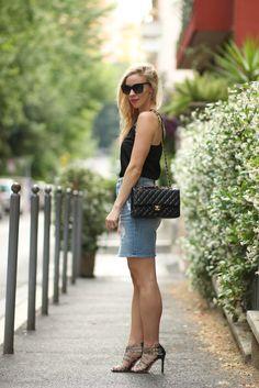 Denim Pencil Skirt: black camisole, 7 For All Mankind distressed denim pencil skirt, Chanel black and gold medium classic flap bag, Cecelia New York snakeskin print stilettos, denim pencil skirt outfit