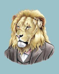 Lion art print 8x10 por berkleyillustration en Etsy