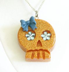 Sandy Resin Skull Necklace by softbluecries on Etsy, $12.00