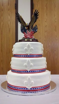 Eagle Scout Cake By LilBlackSheep on CakeCentral.com --make & use my eagle on top
