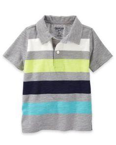 OshKosh Bgosh Heather Striped Jersey Polo Toddler Boys