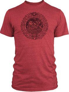 Big Texas Chinese Mandala (Black) Vintage Tri-Blend T-Shirt Mandala b3d3a896f