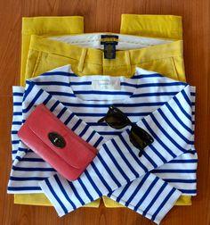 British Prep Striped jumper: Zara  Cords: Rugby Ralph Lauren  Purse: Mulberry  Sunglasses: Ray-Ban
