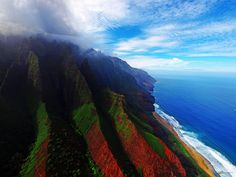 Aerial view of the coast of Nā Pali Coast State Park in Kauai, Hawaii by paul bica via Flickr.