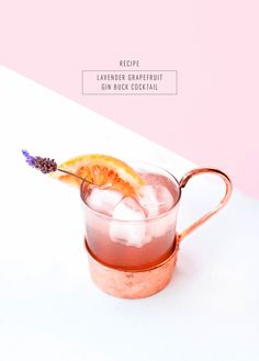 A simple and refreshing lavender grapefruit cocktail for your next happy hour! - sugar and cloth - pretty cocktail Refreshing Cocktails, Summer Cocktails, Fun Drinks, Cocktail Drinks, Cocktail Recipes, Alcoholic Drinks, Beverages, Healthy Drinks, Drink Recipes