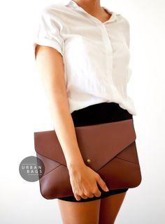 Envelope Clutch Brown - Vegan Leather Clutch - Evening Bag - Fold Over Clutch - IPad Case - HandBag - Different Colors