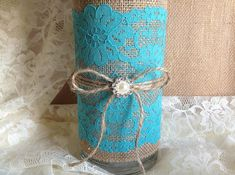 3 DAY SALE Rustic Deep Turquoise blue lace and natural burlap covered glass vase, wedding, bridal shower, baby shower, tea party table decor