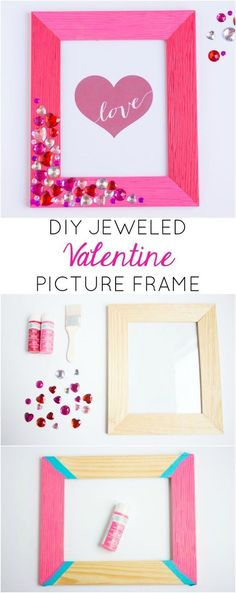 DIY Valentine Jewel Picture Frame
