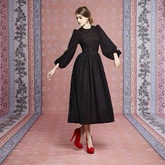 Ulyana Sergeenko black woolen lace and silk dress from fall-winter 2013-14 capsule collection