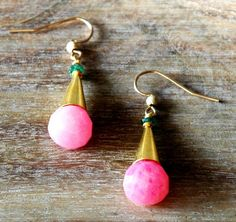 Gold Pyramid Earrings with Raw Green Onyx and Dyed by RawLuxGems, $26.00
