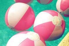 Custom Pink & White Beach Balls