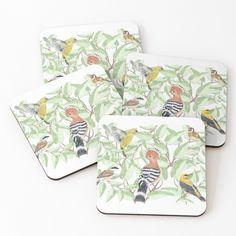 Buy Birds, Cold Drinks, Coaster Set, 4x4, My Arts, Prints, Stuff To Buy, Handmade, Design