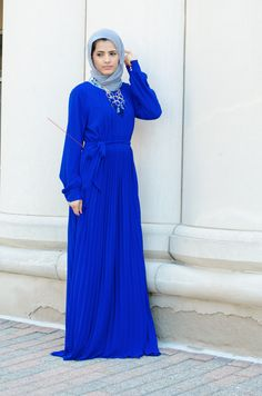 French pleated maxi dress