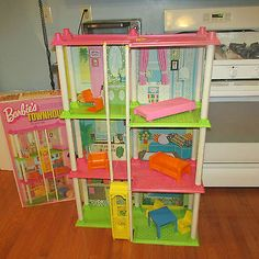 vintage barbie house 1973 townhouse elevator furniture box directions rare htf