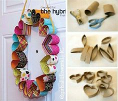 DIY Easy projects for kids part 2 heart wreath Toilet Roll Craft, Toilet Paper Roll Art, Rolled Paper Art, Toilet Paper Roll Crafts, Tissue Roll Crafts, Easy Projects, Projects For Kids, Diy For Kids, Craft Projects