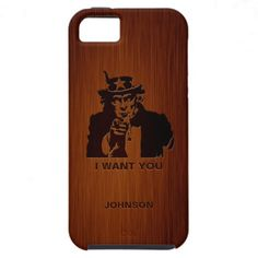 Classic Uncle Sam with Custom Name & Brushed Wood iPhone 5 Case
