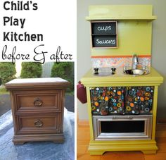 The sweet additional touches really make this best repurposed nightstand into kitchen diy EVER. Don't forget the great storage areas, an oven for the baker ;) & absolutely {love} the crafty pvc solution for the sink; as there are some really poor looking sinks out there in some nightstand diy's.  <3 it!