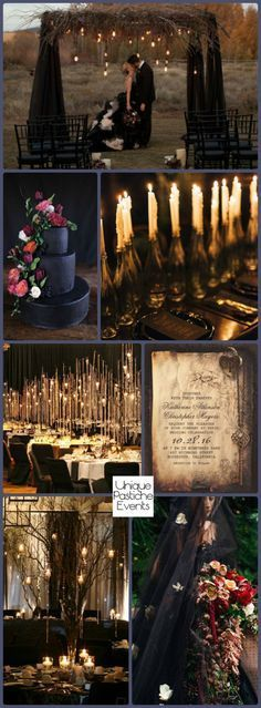 I really like the candles in wine bottles...Rustic Goth Wedding by Candlelight – Halloween Wedding Ideas