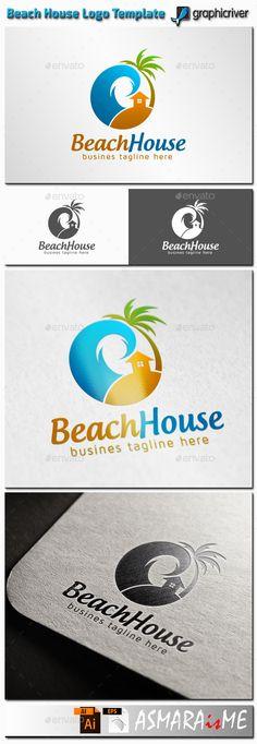Beach House Logo by ASMARAisME File Description Name: Beach House Features: PNG, AI and EPS (Illustrator 17 &10 EPS ) 300PPI CMYK & RGB 100 Scalable Vector