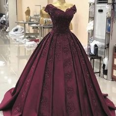 Red Evening Dress Lace Appliques Satin with Short Sleeves Evening Prom Dresses Ball Gown Formal Gowns robe de soiree, Burgundy Evening Dress, Lace Evening Dresses, Lace Dress, Quince Dresses Burgundy, Dress Long, Evening Gowns, Burgundy Dress, Dress Shoes, Ball Gowns Prom