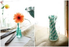 colorful straws for desert table