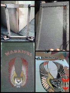 Warriors!!! Nuevamente materiales reciclados: playera vieja y madera del bastidor de una puerta  marco 50x30 plantilla 50x30x3