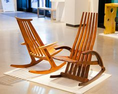"James Henkle Rocking Chair, 1995 Cherry 38"" x 22"" x 37"" On loan from private collection   James Henkle Rocking Chair, 1985 African padauk 40"" x 23"" x 34"" On loan from private collection"