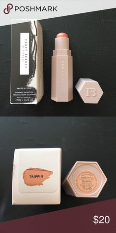 Fenty Beauty Match Stix Shimmer In Trippin Fenty by Rihanna shimmer skin stick in Trippin-golden glazed apricot. Highlight blush and enhance. Sephora Makeup