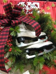 Olde Tyme Marketplace Ice Skates In A Wreath. Christmas Greenery, Plaid Christmas, All Things Christmas, Winter Christmas, Vintage Christmas, Christmas Wreaths, Christmas Crafts, Christmas Decorations, Christmas Ideas