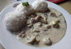 Krémová omáčka s kuřecím masem a žampiony Chicken Recipes, Rice, Food, Essen, Meals, Yemek, Laughter, Jim Rice, Eten