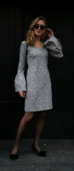 Tweed bell sleeve sheath dress, black suede and velvet bow pumps, black crossbody bag and black cat eye sunglasses {Banana Republic, YSL, Miu Miu, classic workwear, professional style, wear to work, office style, fall fashion, fashion blogger, what to wear to work, every dress}
