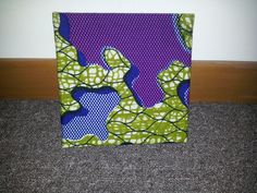 Single Mini square green and purple african wax print fabric wall hanging £9.99