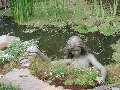 Unique Garden Statue Designs To Complete Your Yard Decor Garden Statues, Garden Sculpture, My Secret Garden, Water Garden, Garden Pond, Water Pond, Water Plants, Dream Garden, Yard Art