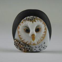Portrait Bead - Barn Owl – Sculptural Glass Focal Bead