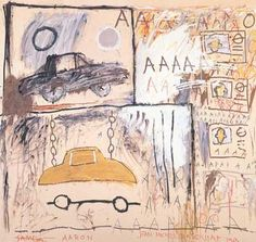 'Cadillac Moon one of the best known works by Jean-Michel Basquiat, was scribbled on while under heavy guard at Paris's Modern Art Museum (MAM). Jean Michel Basquiat Art, Jm Basquiat, Cadillac, Art Pop, Keith Haring, Graffiti Art, Pop Art Andy Warhol, Basquiat Paintings, Bd Art