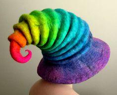 Neon Rainbow Wizard Hat. Witch Hat. Felt Hat. by HandiCraftKate #Felt #Fashionable #Hat