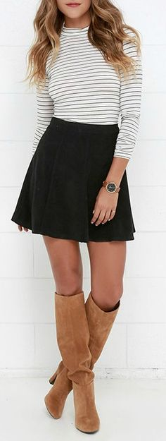 Monochrome Striped High Neck crop top with Black skirt & lovely long Boots