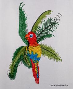 Colorful Parrot And Palm Tree Embroidery Design no 1163 by CuteAppliquesDesign on Etsy