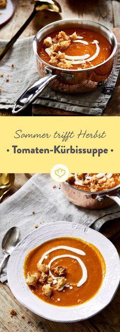 Kürbis trifft Tomate... und diese wunderbare Kürbissuppe entsteht! Endlich eine Kürbissuppe mit mediterranem Touch. Die Croutons kommen easy aus dem Ofen.